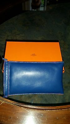 NEW in BOX - HERMES leather eyeglass holder - RED BLUE SOFT SOFT LEATHER!