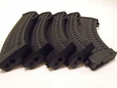 Airsoft Ak-47 Waffle 150Round Mid-Cap Magazines X 5 In Good Used Condition