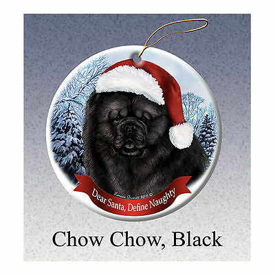 Chow Chow Black Howliday Porcelain China Dog Christmas Ornament