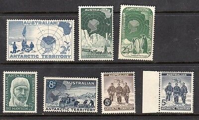 1957-61 AAT stamps - Antarctic Definitives - MNH (8d is MH) Set of 7 - SG1/7