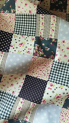 NEW cotton grey floral checks fabric/material QUILTING CRAFTS SEWING half meter