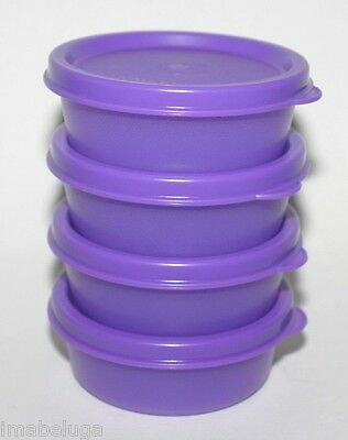 TUPPERWARE 4 Small Mini Half Snack Cups Set 2 oz Bowls Containers Purple  Rare