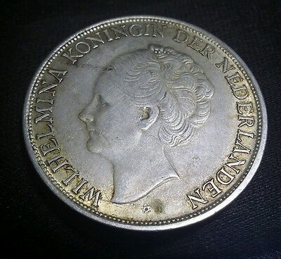 1943 Netherlands  2 1/2 Gulden, Silver Crown Size of Morgan dollar