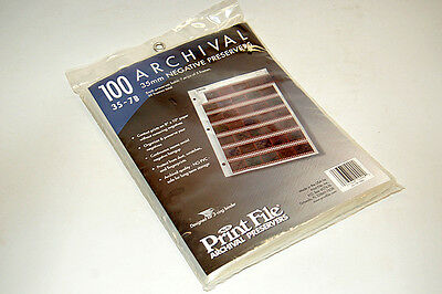 One Unopened Pack Of 100 Print File Archival Negative Preserver Pages 35mm