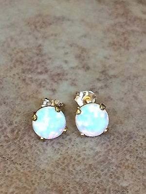 9ct Gold White Opal Earrings 6mm Round Yellow Firey