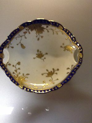 Vintage Hand Painted Blue And Gold Two Handled Bowl