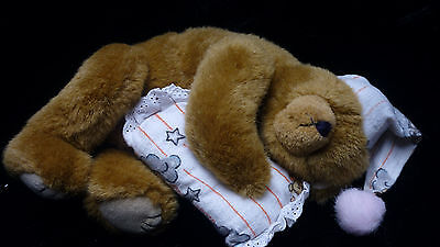 Retired TY Attic Treasures Jointed Bear PRECIOUS Sleeping Bear with Pillow & Cap