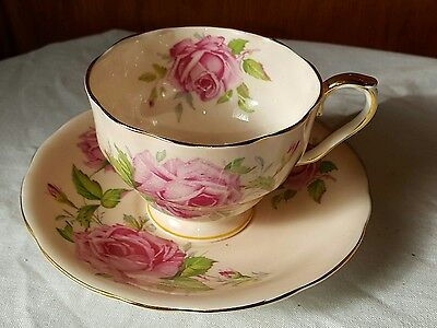 Aynsley Cup And  Saucer With Large Pink Roses