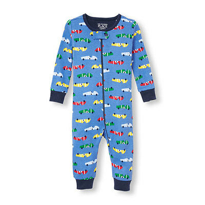 NWT The Children's Place Boy Blue Cars Romper Stretchie Sleeper Pajamas 18-24 M