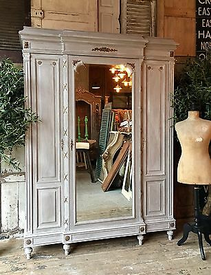 Original vintage French Handpainted linen press / armoire with Mirrored Door