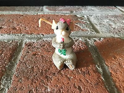 """Very Sweet Single Charming Tales Girl Mouse W/Rose & Hair Bow 2.5"""""""