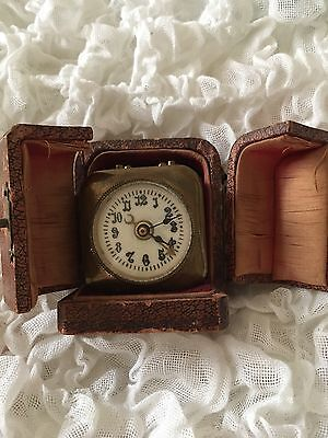 Antique travel alarm clock French with Case