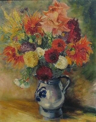 Vintage French Oil Painting on Board, Bouquet of Flowers