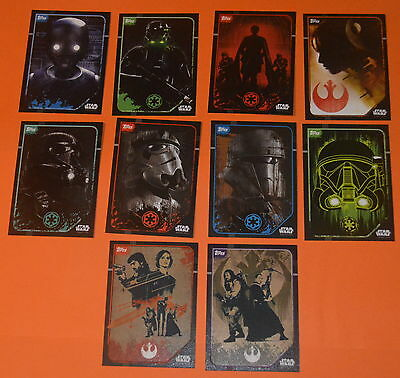 Topps Disney Star Wars Rogue One Trading Cards Set = Sticker cards (#203-#212)