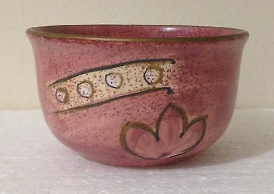VINTAGE HAND PAINTED CERAMIC BOWL – 1980's Gold Pink Yellow Pottery