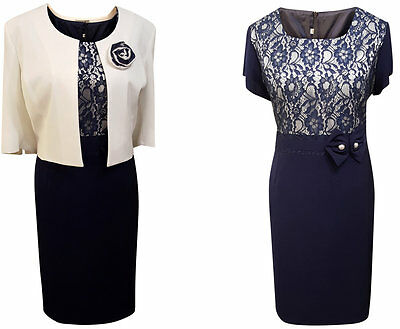Navy Ivory Lace Mother Of The Bride Groom 2 Piece Outfit Dress Jacket Size 18