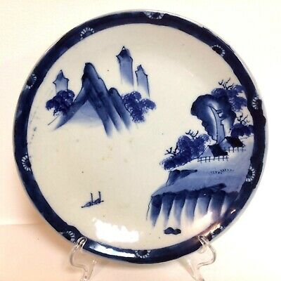 Antique Blue & White Decorated Japanese Plate Platter W/ Mountain Decoration 9.7