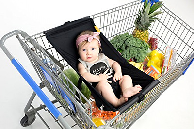 Binxy Baby Infant Shopping Snugly Comfy Cart Hammock 50 Pound Capacity (Black)