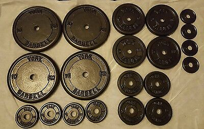 refurbished 77kg of york barbell weights plates, standard 1 inch hole.