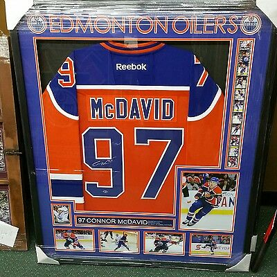Edmonton Oilers Connor McDavid signed jersey framed with coa and photo proof