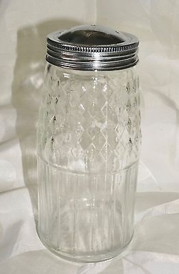 Vintage Glass Flour Sugar Shaker Chrome Metal Top Diamond Pattern Diner
