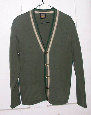 Men's VTG Olive GREEN Cardigan Sweater Sz Small Keynote Wool Stripe border flaw