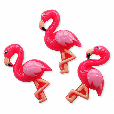 HOT PINK Flamingo Resin Flatback Cabochons Birds Decoden Embellishments Charms