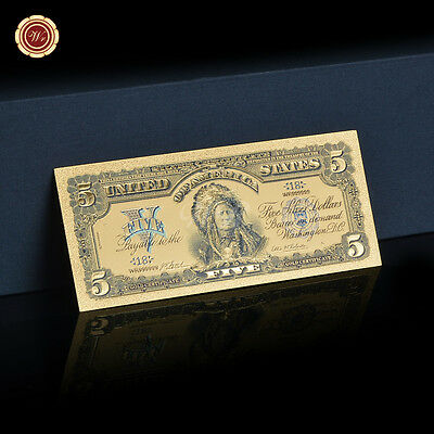 1899 Series $5 Chief One Papa Indian US Five Dollars 24k Gold Banknote D7