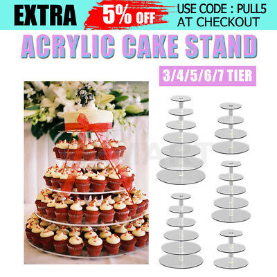 3/4/5/6/7/Tier Clear Acrylic Round Cupcake Cake Stand Birthday Wedding Party AU