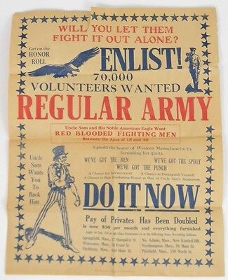 Original 1918 U.S. Uncle Sam Enlist Military WW1 Poster Telegraph Publishing Co.