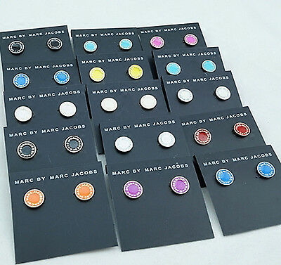 Hot Sale Marc By Marc Jacobs 6 Colors Classic Letters Disc Stud Earrings #e001X