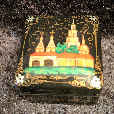 "Vintage Pahlek Lacquer Painted Square Box ""suzdal Monastery"""