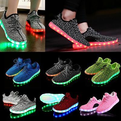 Mens Womens Kids LED Luminous Light up Shoes Cool Casual Sportswear Sneakers