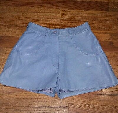 Vintage Women's Genuine Leather Baby Blue Shorts by Cherad Size 24