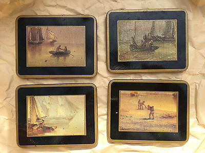 4 vintage drink coasters pastoral nautical