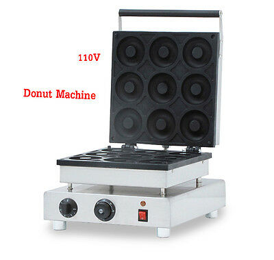 110V Commercial Electric Donut Maker Snack Machine 9 Holes