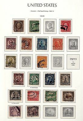 USA 2x pages of stamps annotated 1922 - 1926 see scans x2