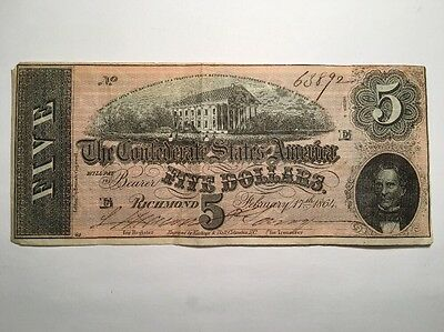 1864 Confederate States of America $5 Five Dollar Bill Civil War Currency Note!