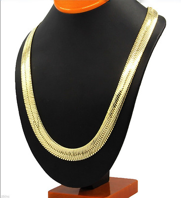 Yellow 14K Heavy Real Gold Plated Women Men Herringbone Snake Necklace Chain 24""