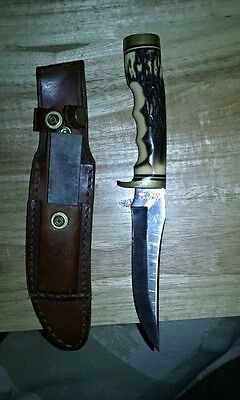 vintage Schrade Old Henry Knife with sheath and sharping stone, 1970's