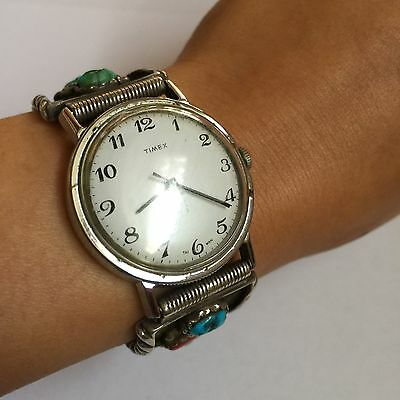 OLD PAWN NAVAJO Sterling TURQUOISE & CORAL Men Watch Band Vintage