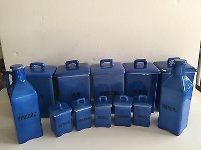 Vintage 1920/40 Made In  Czechoslovakia Blue 12 Piece Canister Set