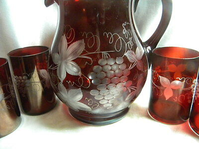 Ruby Bohemian Glass Cut to Clear Set Pitcher and 6 Tumblers Grape Pattern