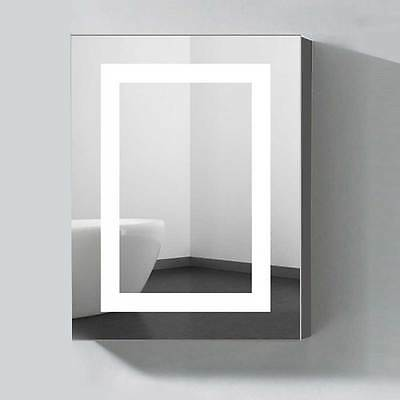 """Vertical LED Lighted Illuminated Mirror Cabinet with Touch Button-24""""x32"""""""