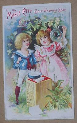 Vintage Victorian Trade Card, Maple City Self Washing Hand Soap, Monmouth, Ill.