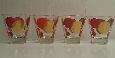 """4 Vtg Mid-Century Russel Wright Rocks Lowball Glasses Eclipse Red Gold 4"""""""