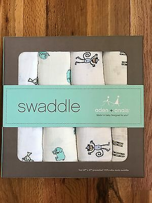 Aden & Anais Swaddle multi-use Blanket Set 100% Cotton Muslin 4-pack!