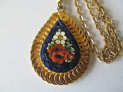 ITALIAN MICRO MOSAIC TEARDROP PENDANT wCOLORFUL DESIGNS GOLD PLATED NECKLACE