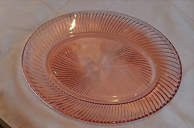 """One (1) 1937 - 1941 Federal Glass Diana-Pink Oval Platter, 11 7/8"""""""