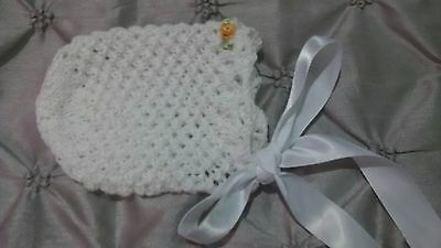 Hand Knitted Girls White Bonnet for Newborn Baby With Sewn Embroidered Flowers